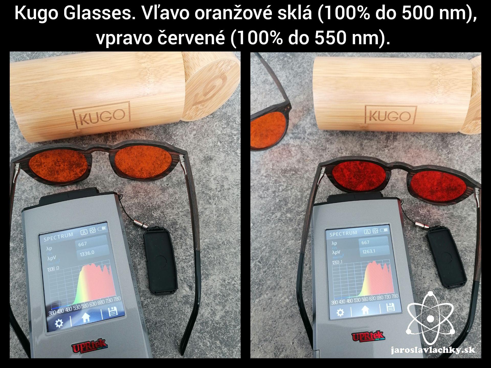 Kugo glassess oranžové ačervené sklá, meranie spektrometrom. Jaroslav lachký, okuliare proti modrému svetlu